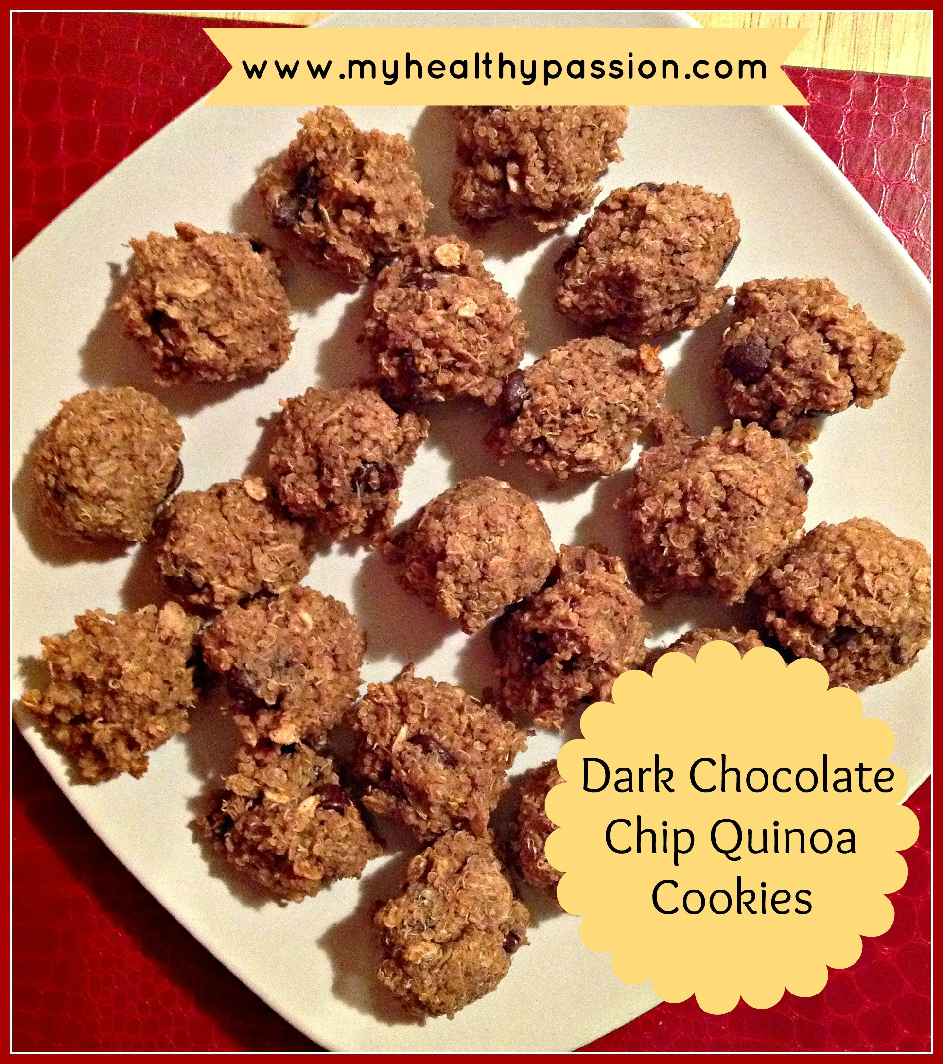 Dark Chocolate Chip Quinoa Cookies |